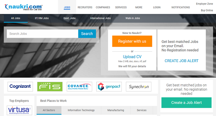 naukri website for job search